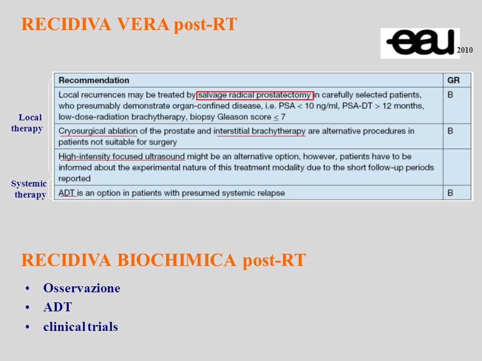 Beneficio incerto della RT rispetto a osservazione e OT in mancanza di studi di fase III Comunque, la RT è considerata lunica modalità terapeutica con una potenzialità curativa nei pz con rialzo di PSA dopo PR RT alla recidiva