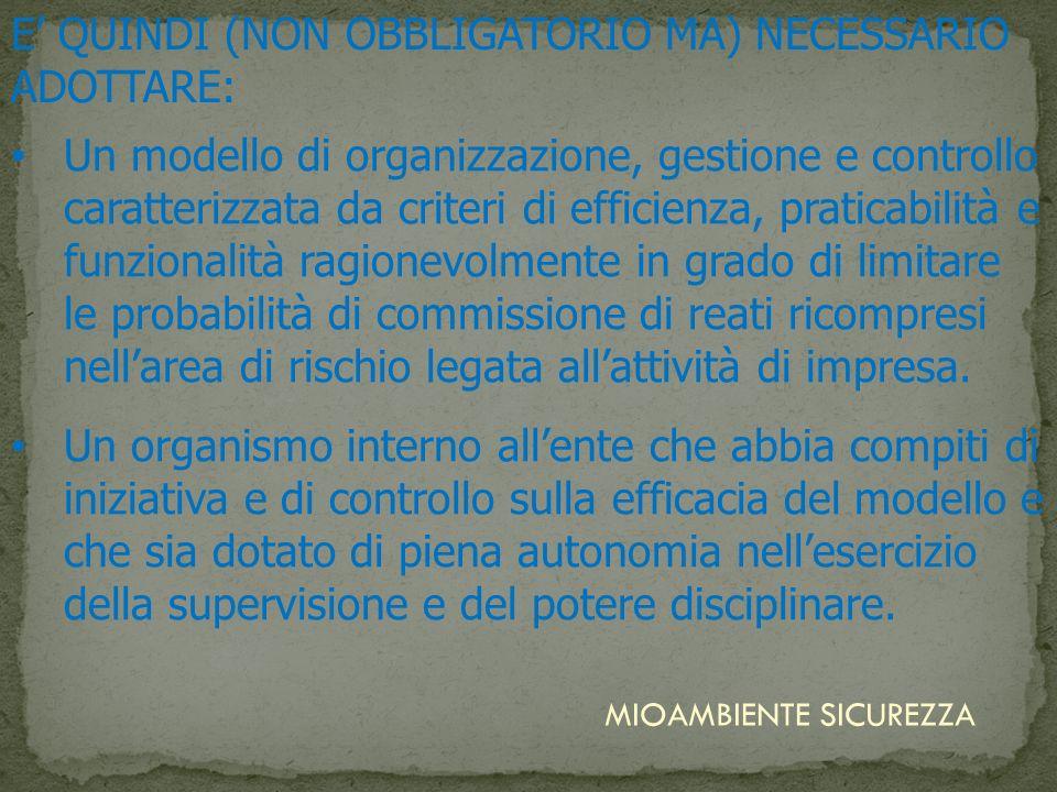 Un modello di organizzazione, gestione e controllo caratterizzata da criteri di efficienza, praticabilità e funzionalità ragionevolmente in grado di l