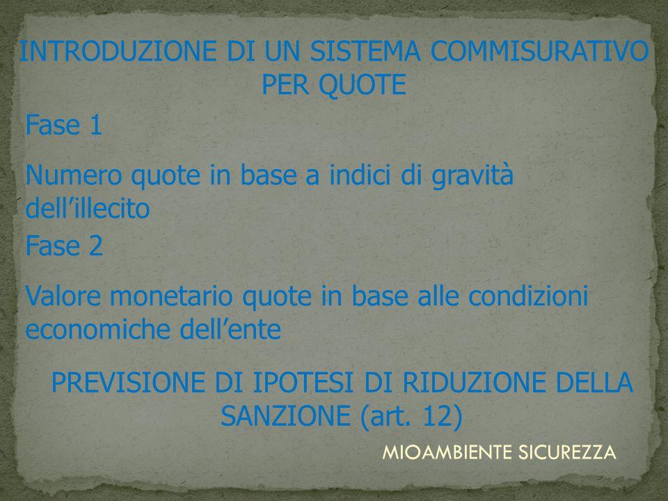 INTRODUZIONE DI UN SISTEMA COMMISURATIVO PER QUOTE PREVISIONE DI IPOTESI DI RIDUZIONE DELLA SANZIONE (art. 12) MIOAMBIENTE SICUREZZA Fase 1 Numero quo