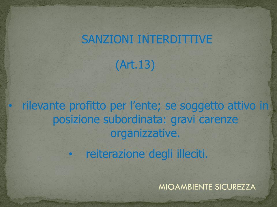 SANZIONI INTERDITTIVE rilevante profitto per lente; se soggetto attivo in posizione subordinata: gravi carenze organizzative. reiterazione degli illec