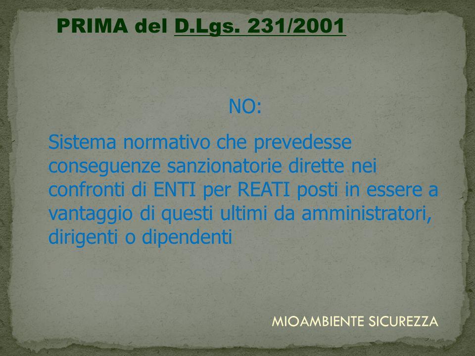 PRIMA del D.Lgs. 231/2001 NO: Sistema normativo che prevedesse conseguenze sanzionatorie dirette nei confronti di ENTI per REATI posti in essere a van