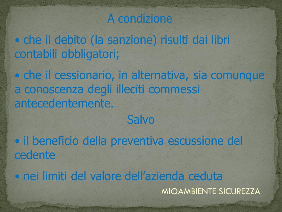 A condizione che il debito (la sanzione) risulti dai libri contabili obbligatori; che il cessionario, in alternativa, sia comunque a conoscenza degli