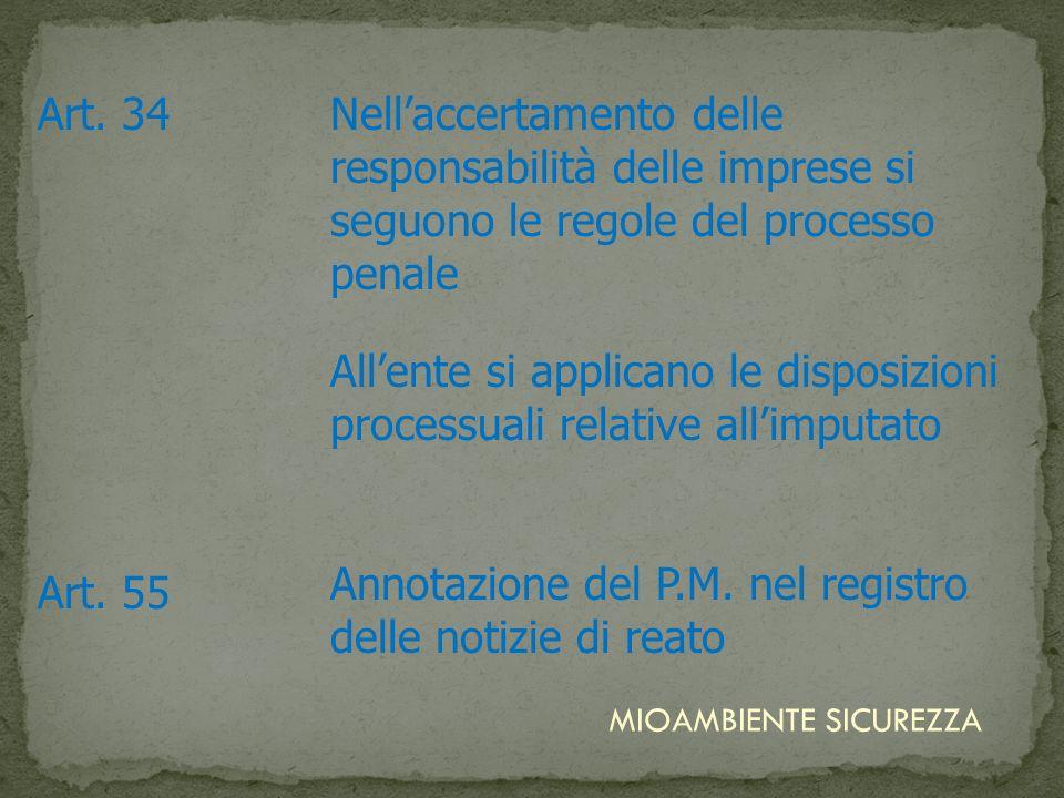 Art. 34Nellaccertamento delle responsabilità delle imprese si seguono le regole del processo penale Allente si applicano le disposizioni processuali r
