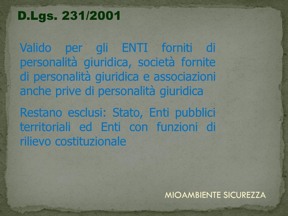 D.Lgs. 231/2001 Valido per gli ENTI forniti di personalità giuridica, società fornite di personalità giuridica e associazioni anche prive di personali