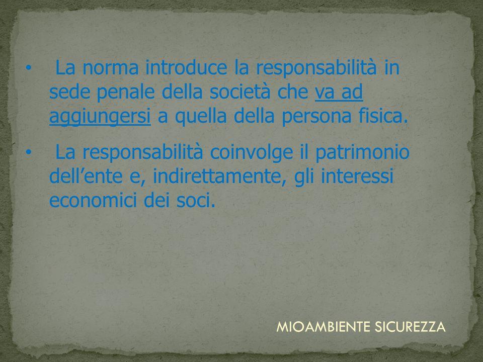 La norma introduce la responsabilità in sede penale della società che va ad aggiungersi a quella della persona fisica. La responsabilità coinvolge il
