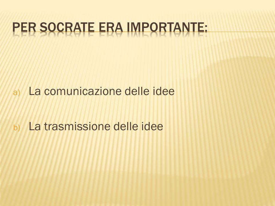 a) La comunicazione delle idee b) La trasmissione delle idee