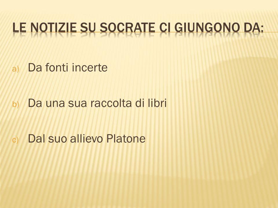 a) Da fonti incerte b) Da una sua raccolta di libri c) Dal suo allievo Platone