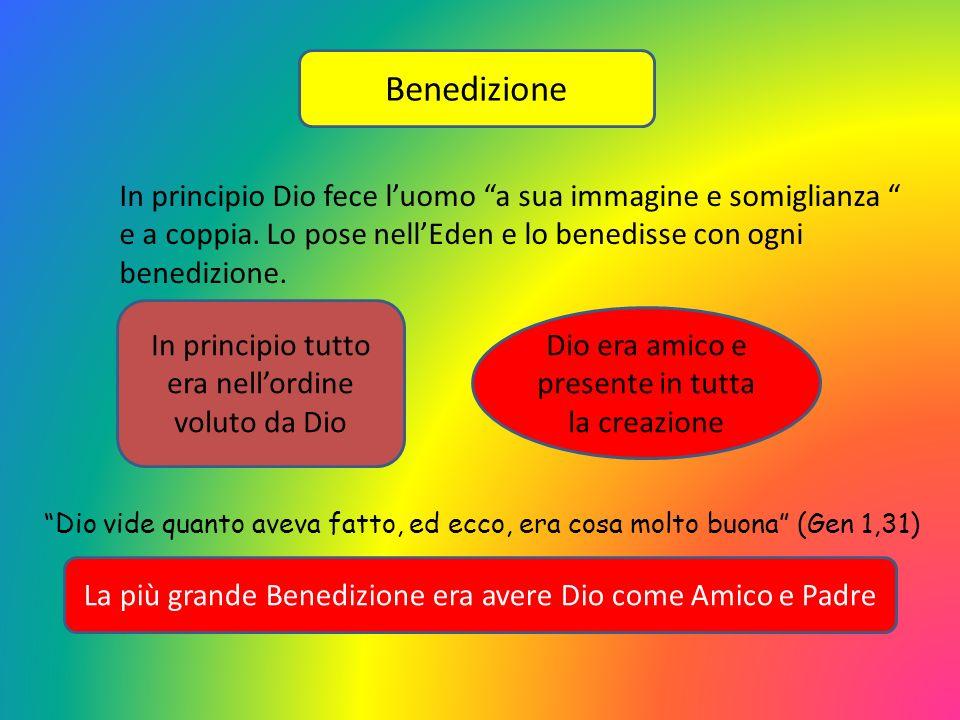 Benedizione In principio Dio fece luomo a sua immagine e somiglianza e a coppia. Lo pose nellEden e lo benedisse con ogni benedizione. In principio tu