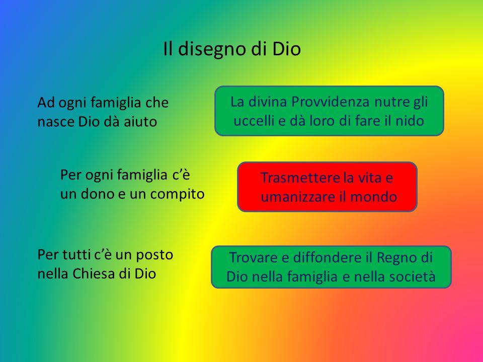Il disegno di Dio Ad ogni famiglia che nasce Dio dà aiuto Per ogni famiglia cè un dono e un compito Per tutti cè un posto nella Chiesa di Dio Trasmett