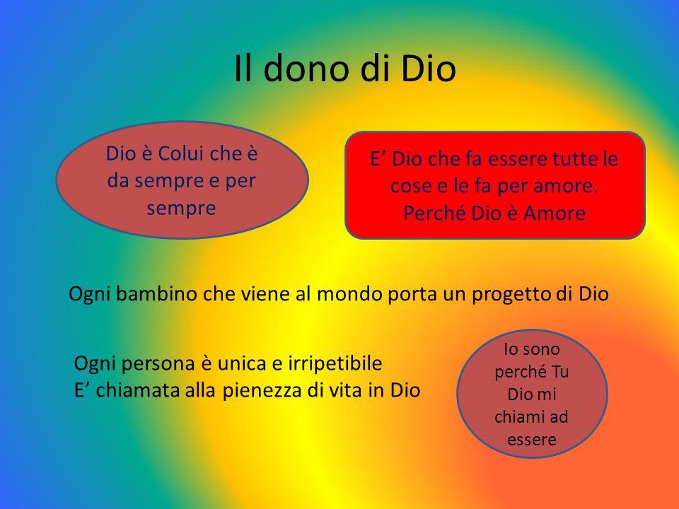 Il dono di Dio Dio è Colui che è da sempre e per sempre E Dio che fa essere tutte le cose e le fa per amore. Perché Dio è Amore Ogni bambino che viene