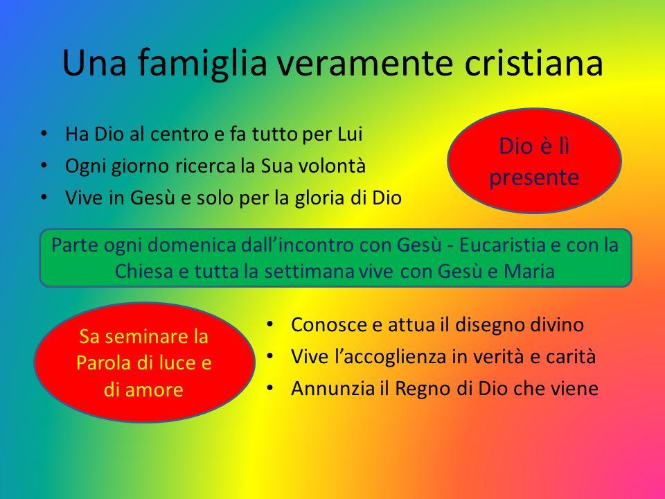 Una famiglia veramente cristiana Ha Dio al centro e fa tutto per Lui Ogni giorno ricerca la Sua volontà Vive in Gesù e solo per la gloria di Dio Dio è