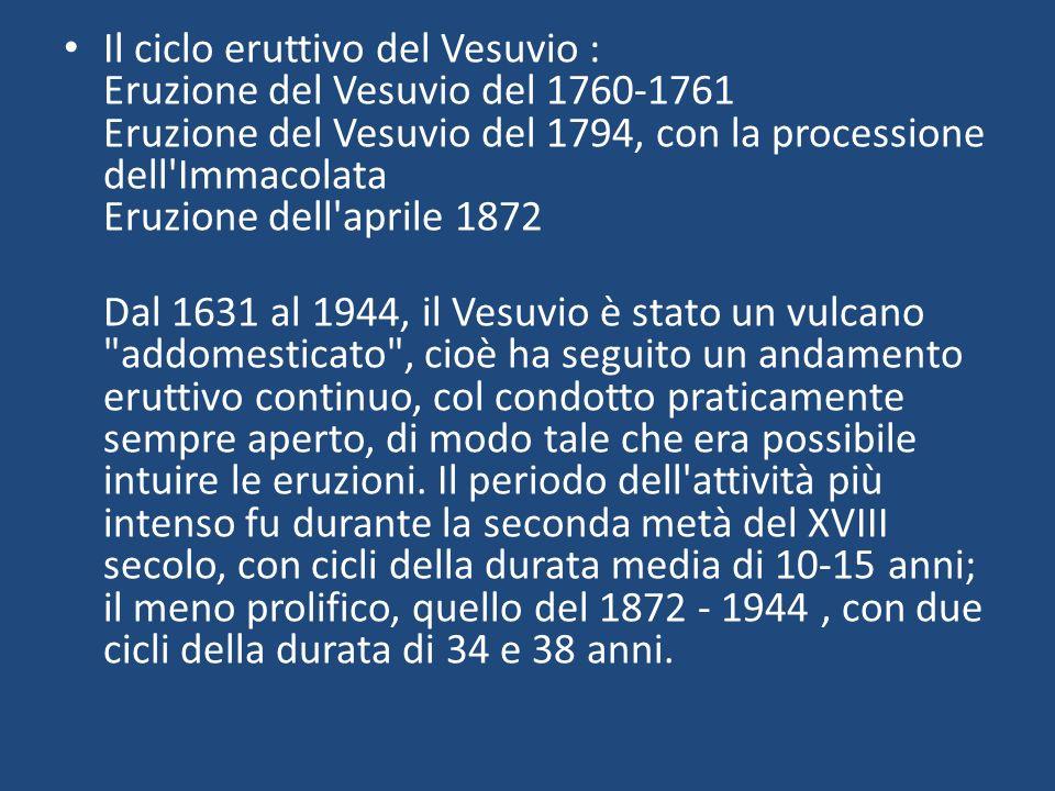 Il ciclo eruttivo del Vesuvio : Eruzione del Vesuvio del 1760-1761 Eruzione del Vesuvio del 1794, con la processione dell'Immacolata Eruzione dell'apr