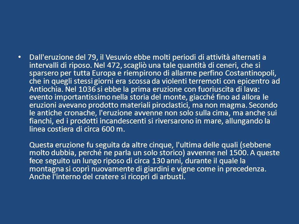 Dall'eruzione del 79, il Vesuvio ebbe molti periodi di attività alternati a intervalli di riposo. Nel 472, scagliò una tale quantità di ceneri, che si