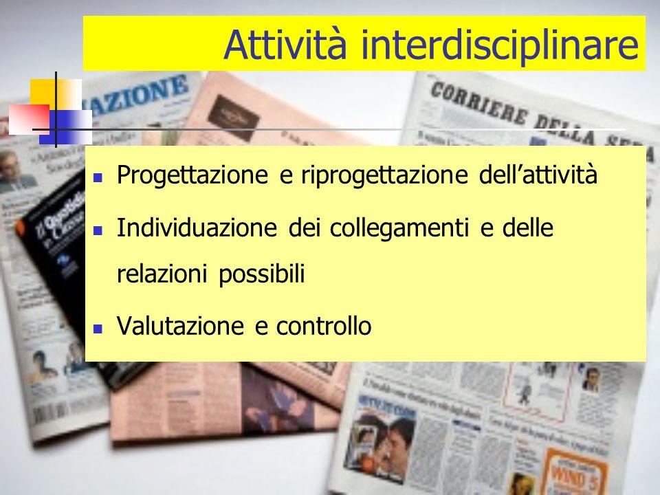 Attività interdisciplinare Progettazione e riprogettazione dellattività Individuazione dei collegamenti e delle relazioni possibili Valutazione e controllo