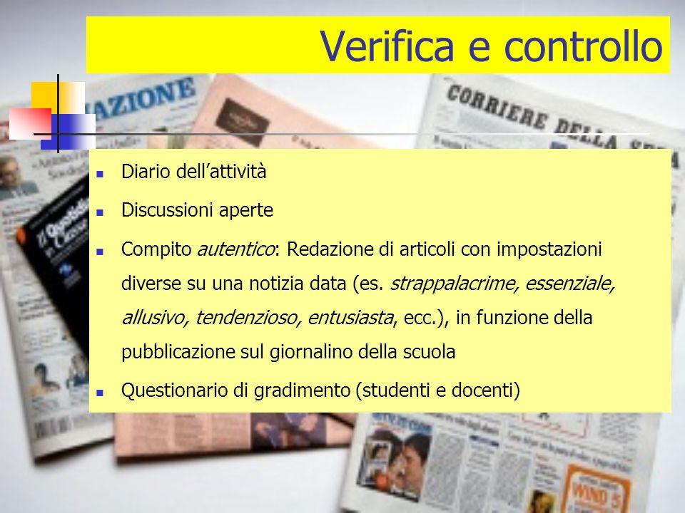 Verifica e controllo Diario dellattività Discussioni aperte Compito autentico: Redazione di articoli con impostazioni diverse su una notizia data (es.
