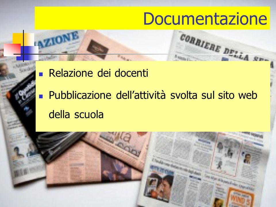 Documentazione Relazione dei docenti Pubblicazione dellattività svolta sul sito web della scuola