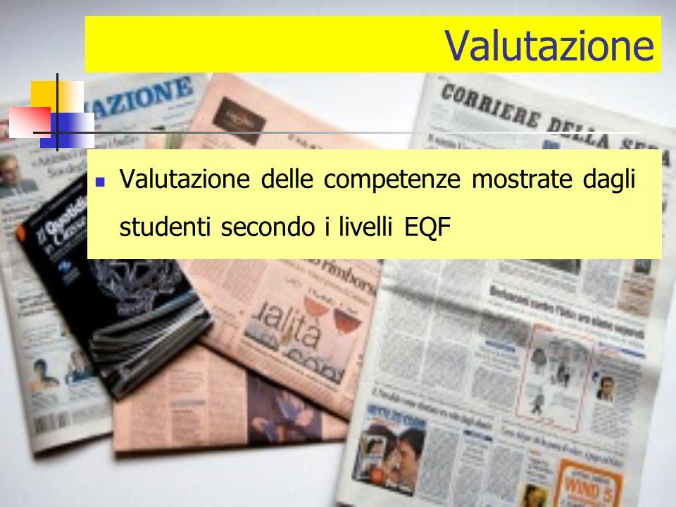 Valutazione Valutazione delle competenze mostrate dagli studenti secondo i livelli EQF