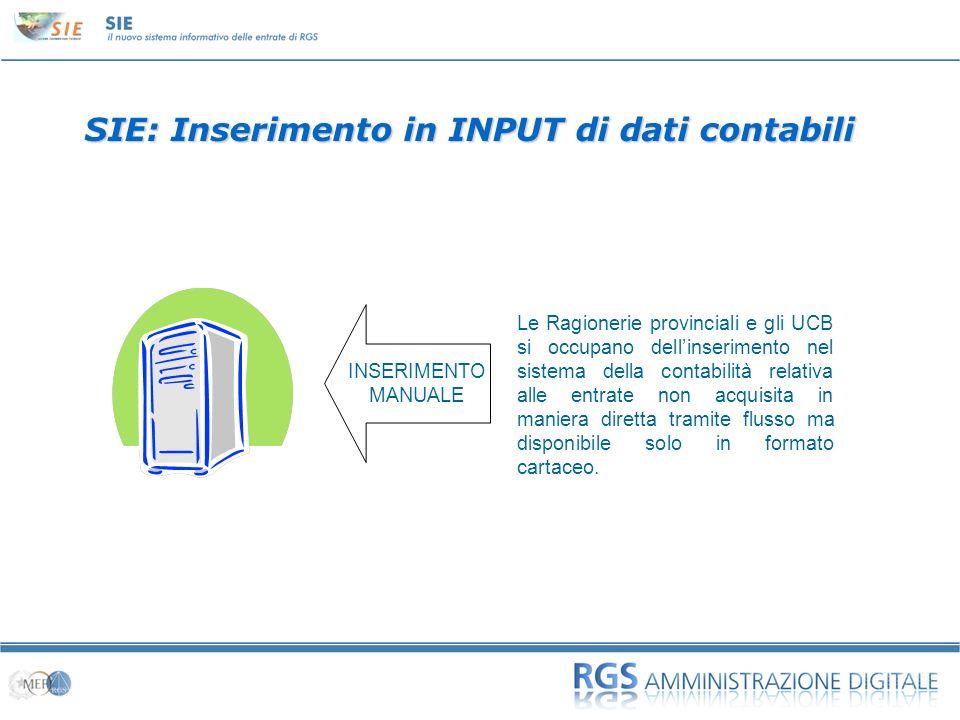 01 SIE: Inserimento in INPUT di dati contabili Le Ragionerie provinciali e gli UCB si occupano dellinserimento nel sistema della contabilità relativa