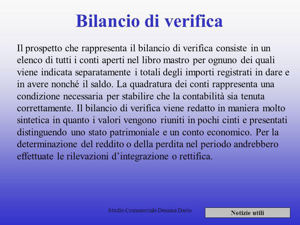 Studio Commerciale Demma Dario Redazione del bilancio Notizie utili Lapplicazione di una corretta contabilità si effettua con la redazione di un bilan