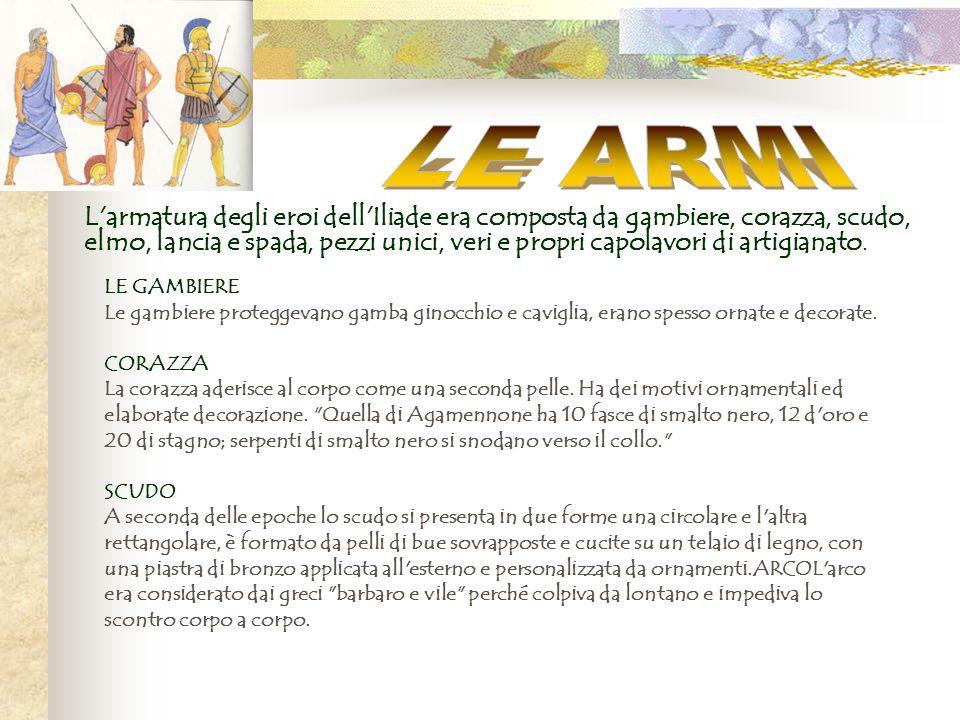 L'armatura degli eroi dell'Iliade era composta da gambiere, corazza, scudo, elmo, lancia e spada, pezzi unici, veri e propri capolavori di artigianato