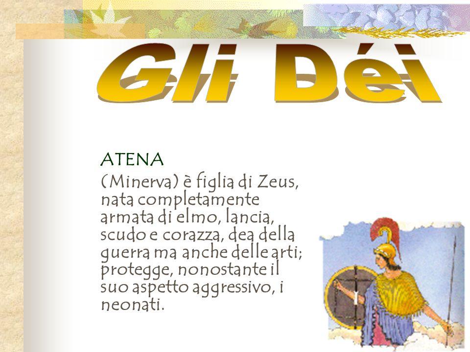 ATENA (Minerva) è figlia di Zeus, nata completamente armata di elmo, lancia, scudo e corazza, dea della guerra ma anche delle arti; protegge, nonostan