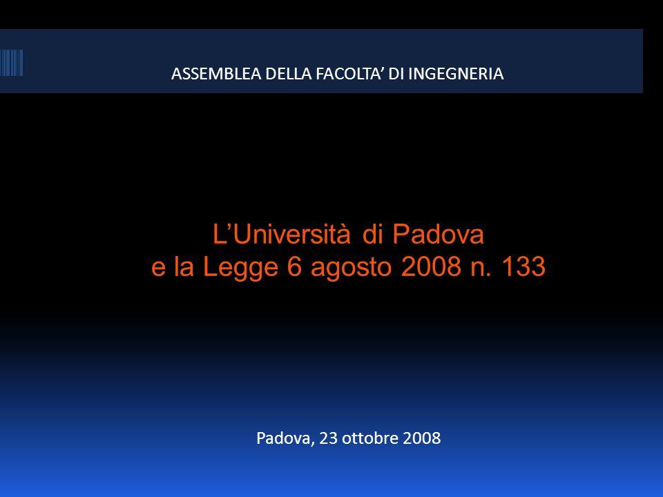 ASSEMBLEA DELLA FACOLTA DI INGEGNERIA LUniversità di Padova e la Legge 6 agosto 2008 n. 133 Padova, 23 ottobre 2008