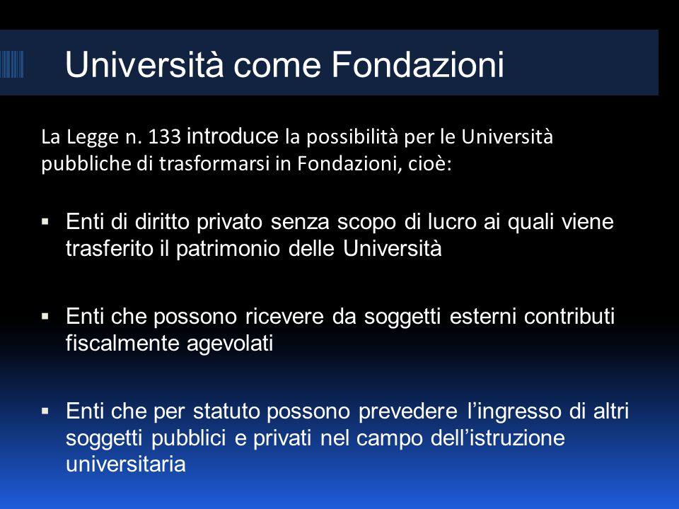 Università come Fondazioni La Legge n. 133 introduce la possibilità per le Università pubbliche di trasformarsi in Fondazioni, cioè: Enti di diritto p