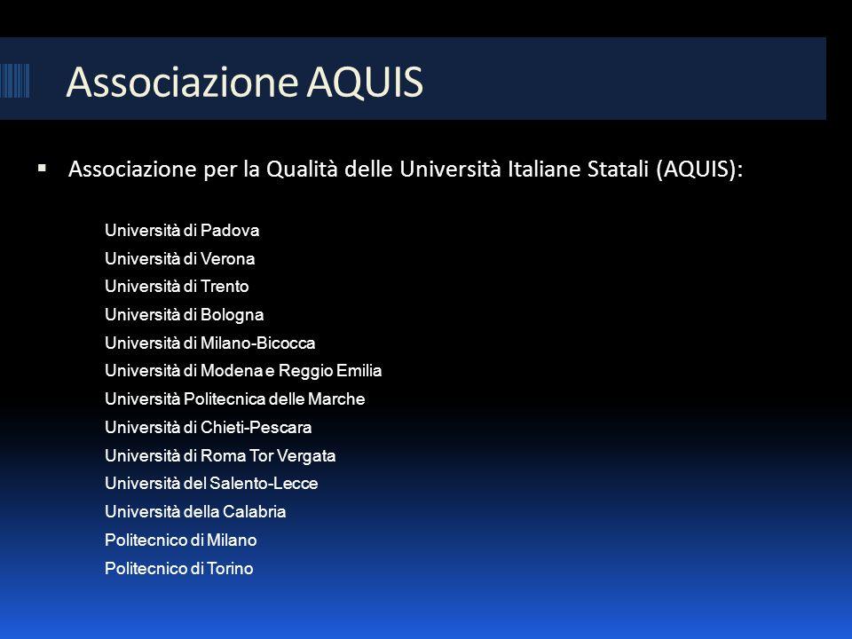 Associazione AQUIS Associazione per la Qualità delle Università Italiane Statali (AQUIS): Università di Padova Università di Verona Università di Tren