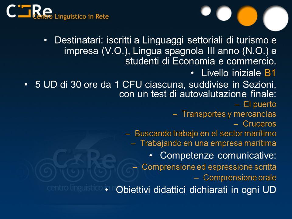 Destinatari: iscritti a Linguaggi settoriali di turismo e impresa (V.O.), Lingua spagnola III anno (N.O.) e studenti di Economia e commercio. Livello