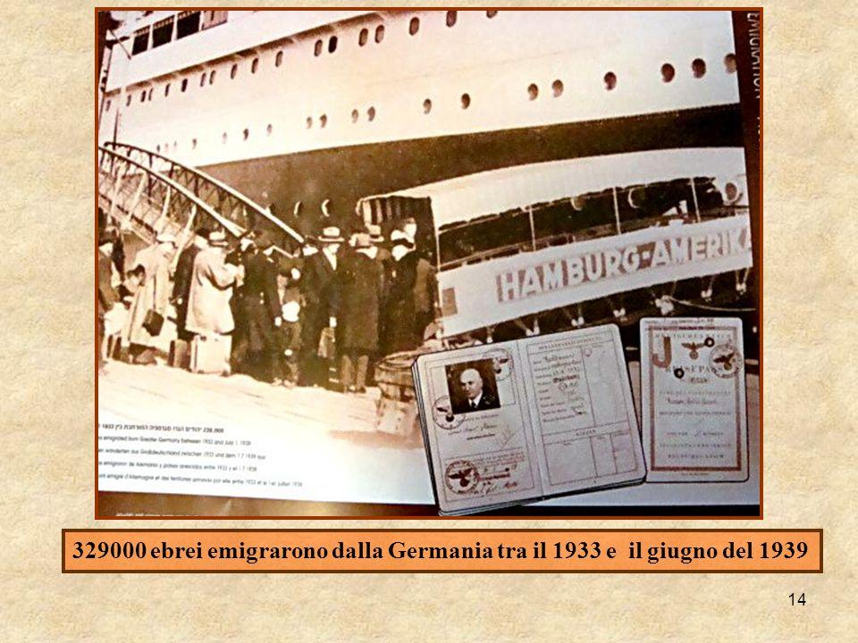 14 329000 ebrei emigrarono dalla Germania tra il 1933 e il giugno del 1939