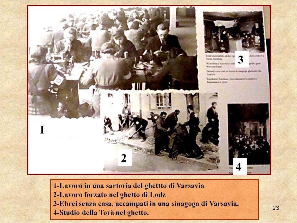 23 1-Lavoro in una sartoria del ghettto di Varsavia 2-Lavoro forzato nel ghetto di Lodz 3-Ebrei senza casa, accampati in una sinagoga di Varsavia. 4-S