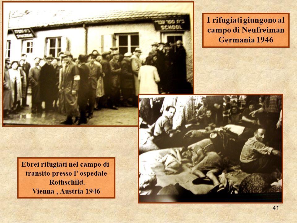 41 I rifugiati giungono al campo di Neufreiman Germania 1946 Ebrei rifugiati nel campo di transito presso l ospedale Rothschild. Vienna, Austria 1946