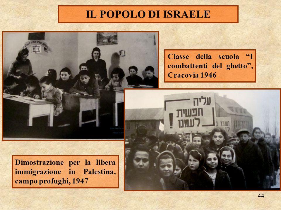 44 IL POPOLO DI ISRAELE Classe della scuola I combattenti del ghetto, Cracovia 1946 Dimostrazione per la libera immigrazione in Palestina, campo profu