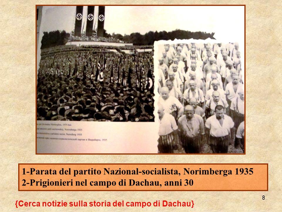 8 {Cerca notizie sulla storia del campo di Dachau} 1-Parata del partito Nazional-socialista, Norimberga 1935 2-Prigionieri nel campo di Dachau, anni 3