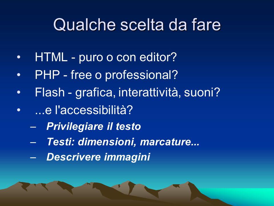 Qualche scelta da fare HTML - puro o con editor. PHP - free o professional.