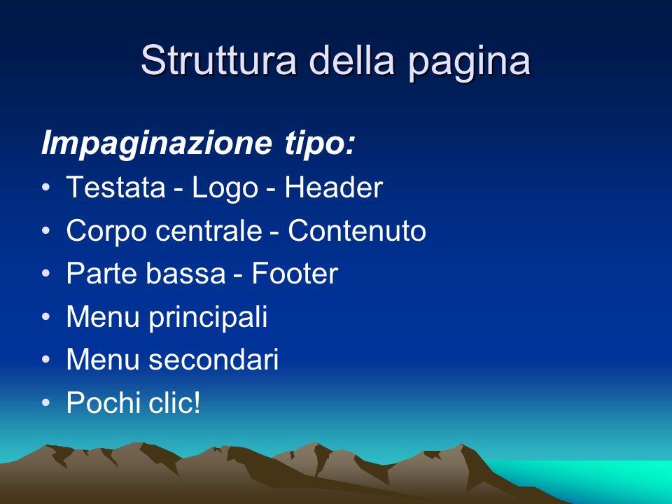 Struttura della pagina Impaginazione tipo: Testata - Logo - Header Corpo centrale - Contenuto Parte bassa - Footer Menu principali Menu secondari Pochi clic!