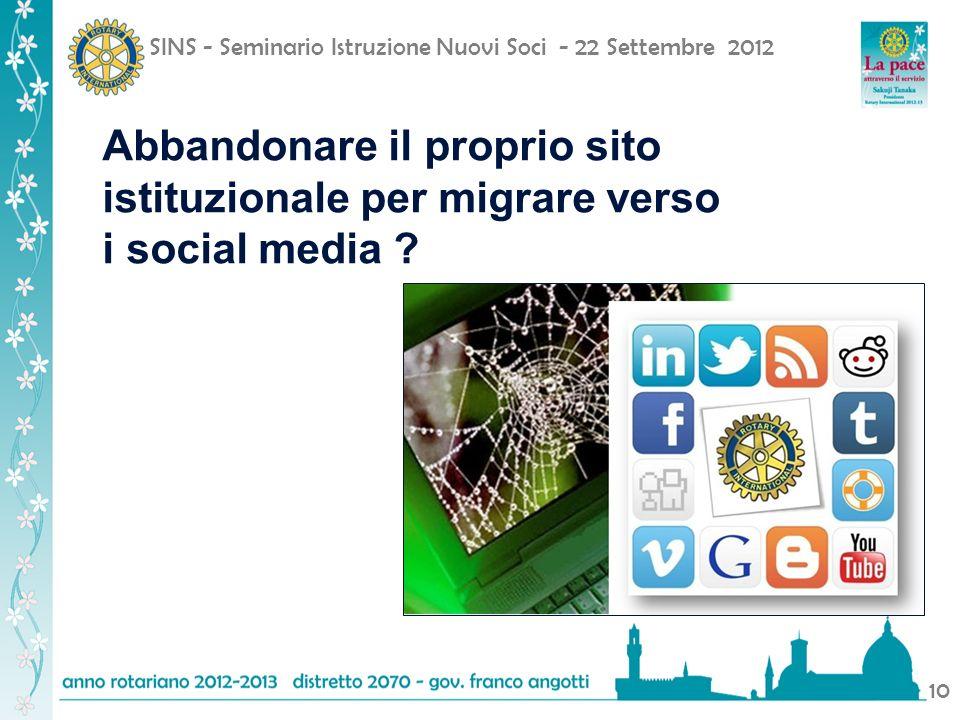 SINS - Seminario Istruzione Nuovi Soci - 22 Settembre 2012 10 Abbandonare il proprio sito istituzionale per migrare verso i social media ?