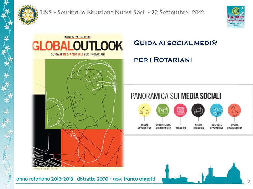 SINS - Seminario Istruzione Nuovi Soci - 22 Settembre 2012 2 Guida ai social medi@ per i Rotariani