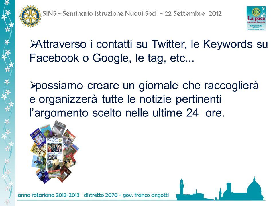 SINS - Seminario Istruzione Nuovi Soci - 22 Settembre 2012 Attraverso i contatti su Twitter, le Keywords su Facebook o Google, le tag, etc...