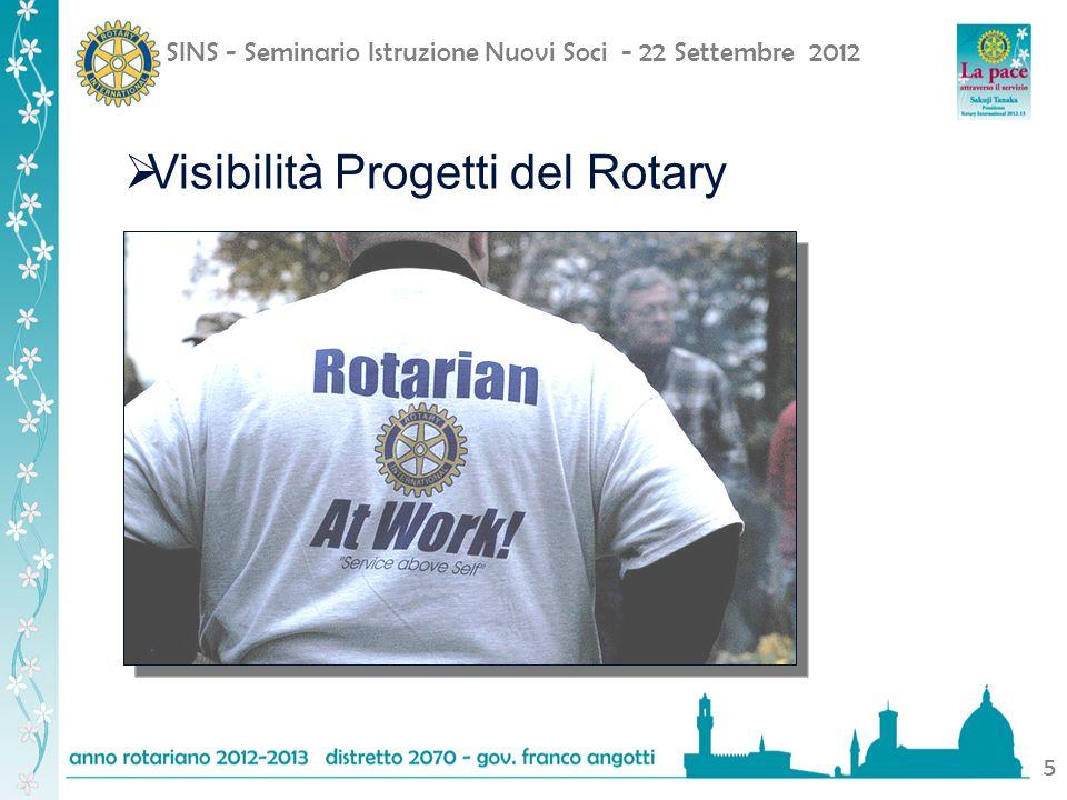 SINS - Seminario Istruzione Nuovi Soci - 22 Settembre 2012 5 Visibilità Progetti del Rotary