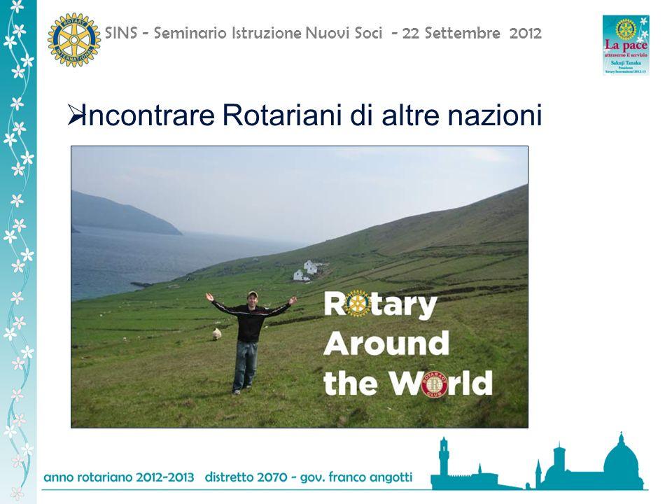SINS - Seminario Istruzione Nuovi Soci - 22 Settembre 2012 Incontrare Rotariani di altre nazioni
