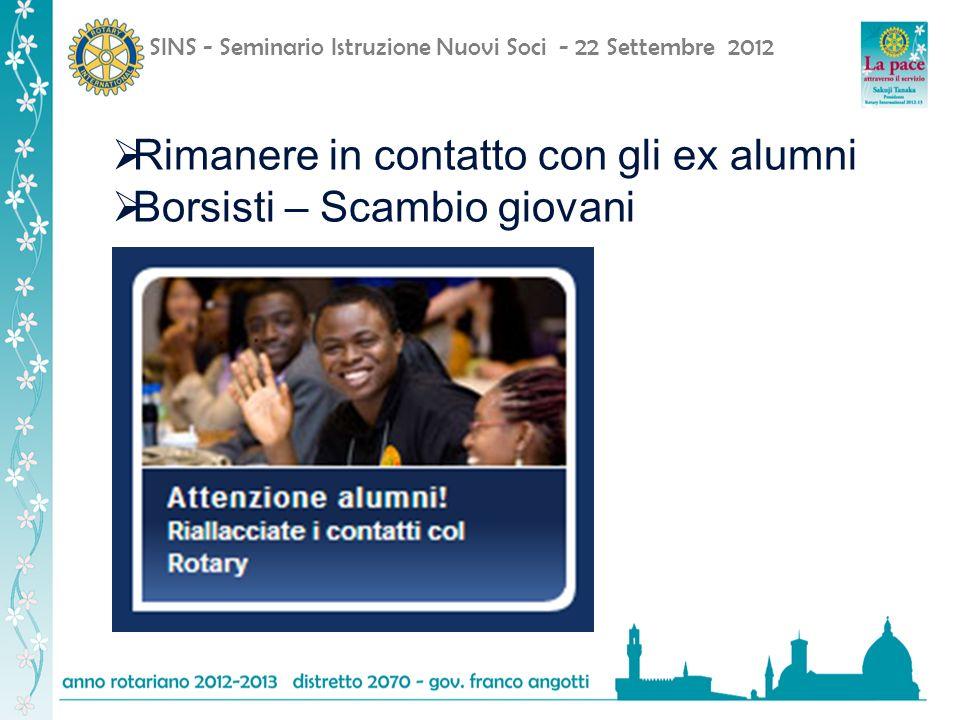 SINS - Seminario Istruzione Nuovi Soci - 22 Settembre 2012 Rimanere in contatto con gli ex alumni Borsisti – Scambio giovani