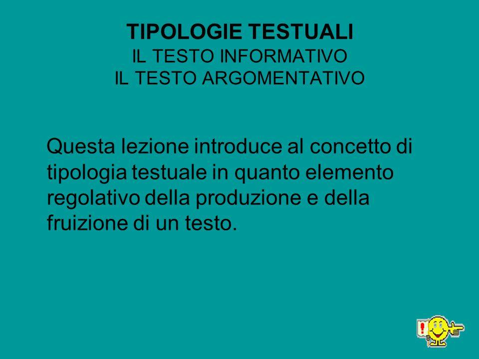 TIPOLOGIE TESTUALI IL TESTO INFORMATIVO IL TESTO ARGOMENTATIVO Questa lezione introduce al concetto di tipologia testuale in quanto elemento regolativ