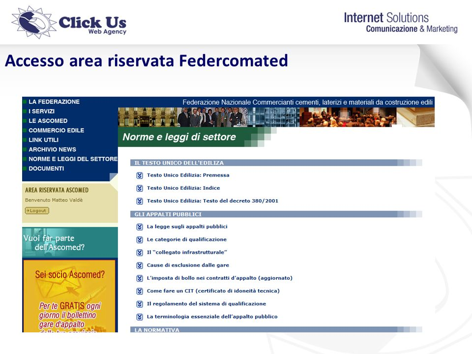 Accesso area riservata Federcomated