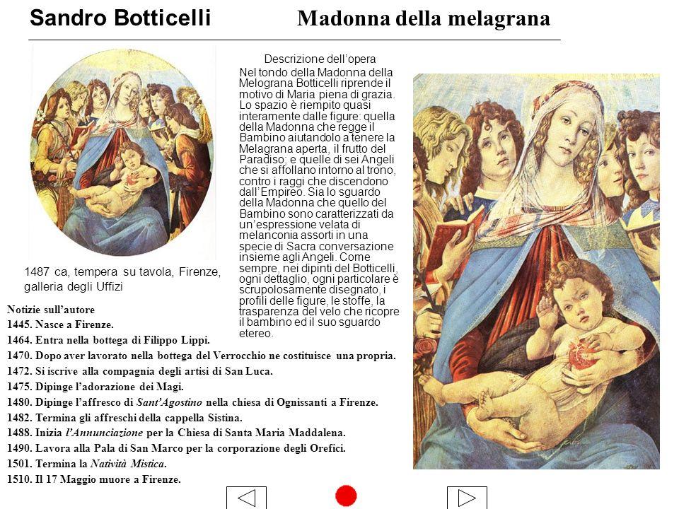 Sandro Botticelli Madonna della melagrana Descrizione dellopera Nel tondo della Madonna della Melograna Botticelli riprende il motivo di Maria piena di grazia.