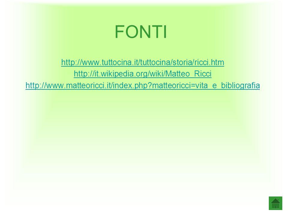 FONTI http://www.tuttocina.it/tuttocina/storia/ricci.htm http://it.wikipedia.org/wiki/Matteo_Ricci http://www.matteoricci.it/index.php?matteoricci=vita_e_bibliografia