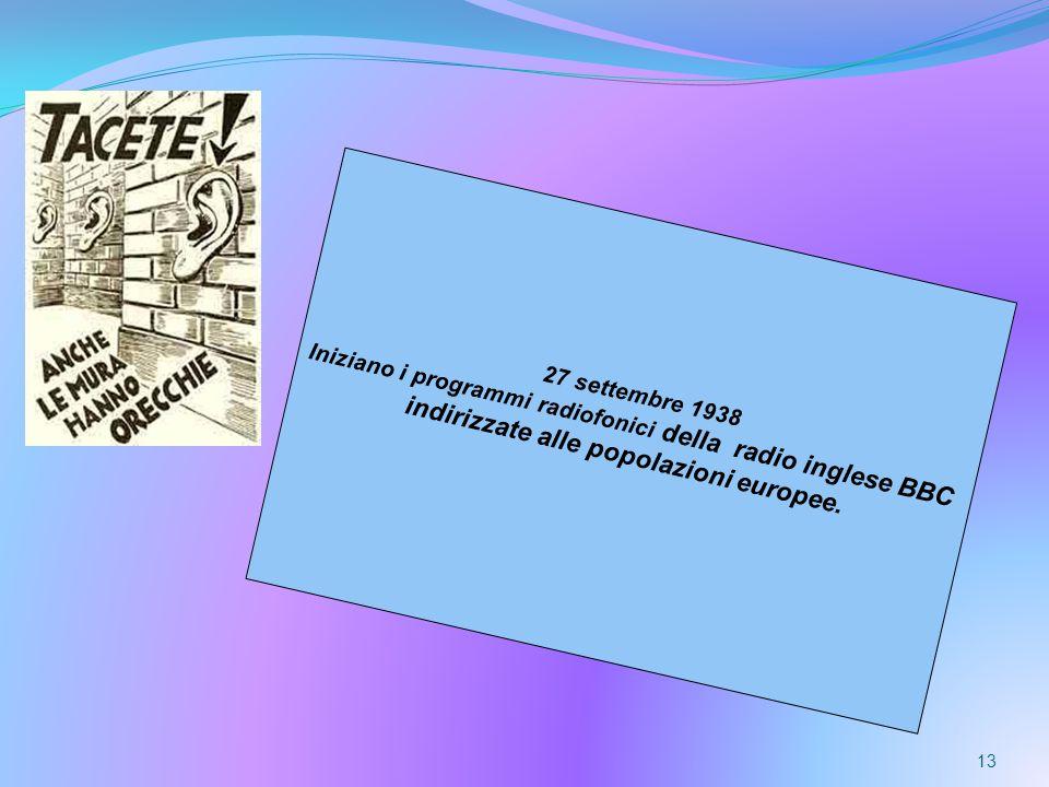 13 27 settembre 1938 Iniziano i programmi radiofonici della radio inglese BBC indirizzate alle popolazioni europee.