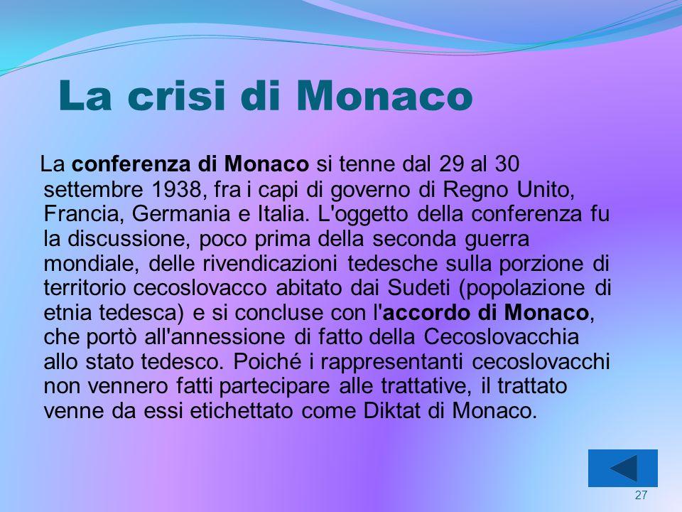 La crisi di Monaco La conferenza di Monaco si tenne dal 29 al 30 settembre 1938, fra i capi di governo di Regno Unito, Francia, Germania e Italia.