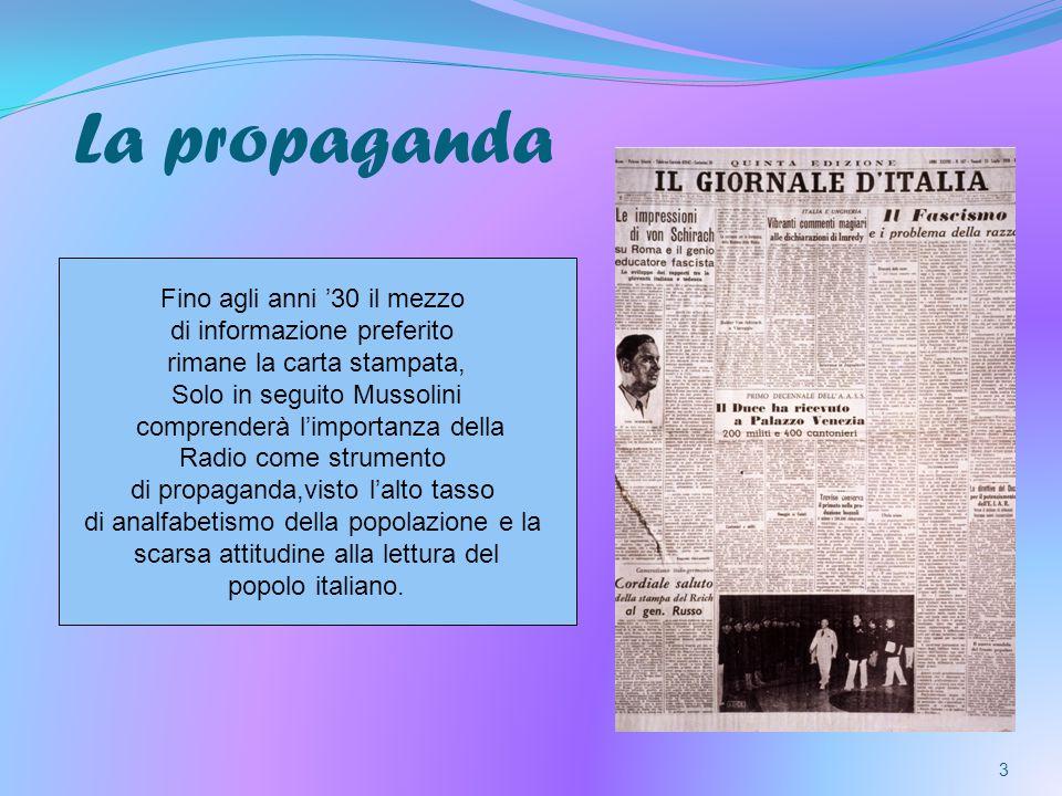 La propaganda 3 Fino agli anni 30 il mezzo di informazione preferito rimane la carta stampata, Solo in seguito Mussolini comprenderà limportanza della