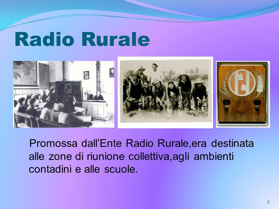 Radio Rurale Promossa dallEnte Radio Rurale,era destinata alle zone di riunione collettiva,agli ambienti contadini e alle scuole.